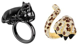 Este anel de rutênio da linha Monsieur Dior do Inverno 2013 mostra a superstição do fundador da maison em mix art deco e surrealista.; já o inspirado na rebelde musa de Dior, Mitza Bicard, tem brilhantes e laqueados preto e marrom.