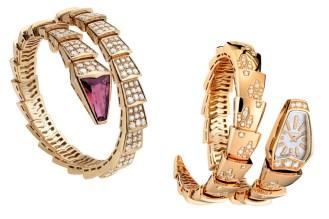 A clássica linha Serpenti, da Bulgari, sempre ganha peças novas com o design do réptil. Entre as mais recentes, estão o bracelete com rubi e brilhantes e o relógio em ouro rosa e brilhantes.