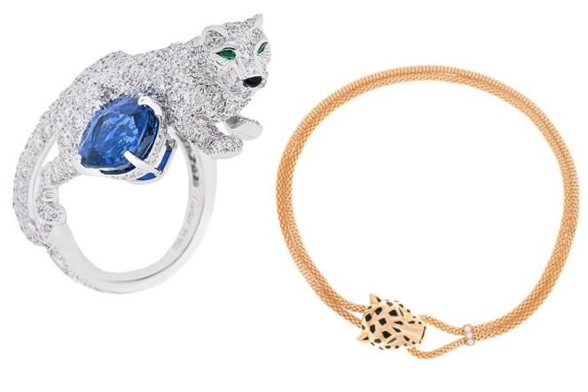 Outra tradicional maison que é fiel aos animais é a Cartier e sua coleção Panthère, que nesta temporada ganhou novidades como o anel em ouro branco, brilhantes, safira e esmeraldas e o colar com brilhantes e ouro esmaltado.