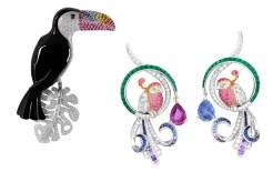 A linha Oiseaux de Paradis, da Van Cleef & Arpels, aposta em pedras preciosas coloridas que dão formas aos mais variados pássaros, como o broche de tucano em ônix e os brincos trabalhadíssimos.