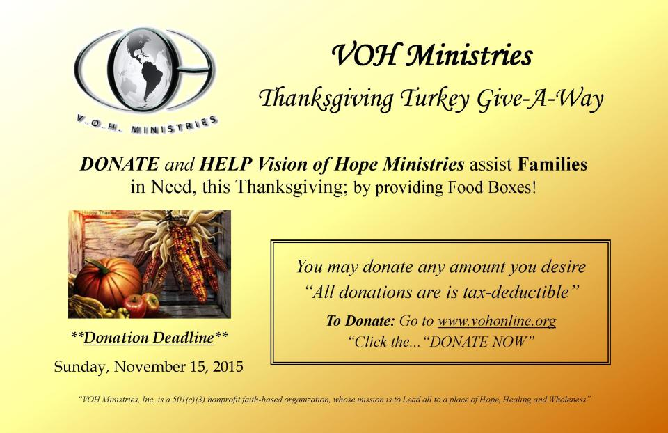 VOH Thanksgiving Giveaway 2015