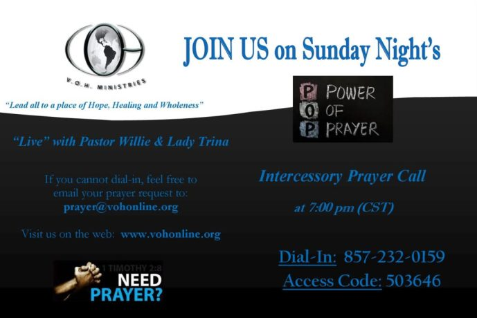 VOH Ministries » VOH Ministries Weekly Prayer Call