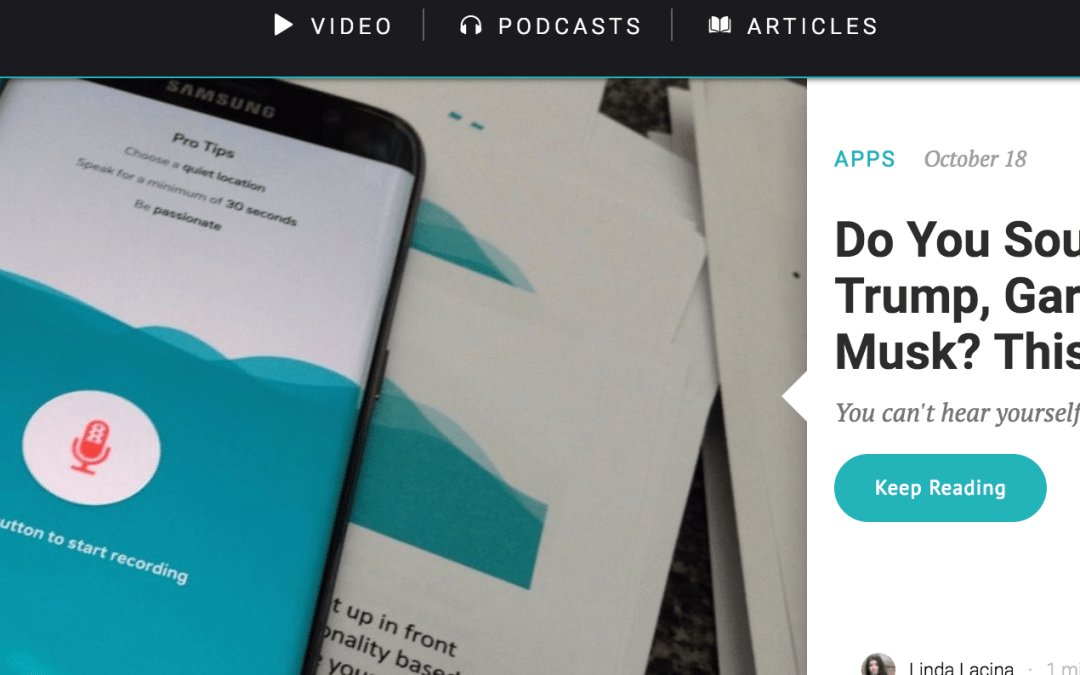 Voiceable featured in Entrepreneur.com «Do You Sound More Like Donald Trump, Gary Vaynerchuk or Elon Musk? This App Can Tell You For Sure.»