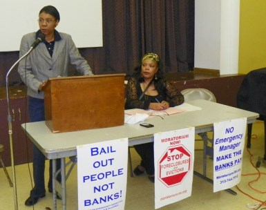 Attorney Vanessa Fluker and city retiree Andrea Egypt both spoke at the rally.