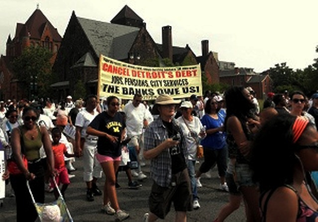 March to cancel Detroit's debt to the banks.