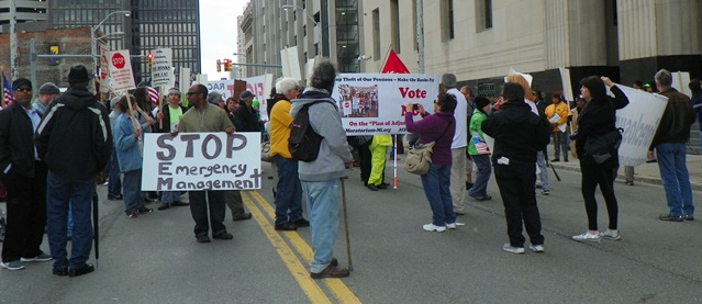 Marchers block streets in front of Federal courthouse on W. Lafayette.