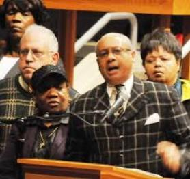 Rev. Edward Pinkney with wife Dorothy at his left, during first rally against the emergency manager act, PA 4. It later became PA 436.
