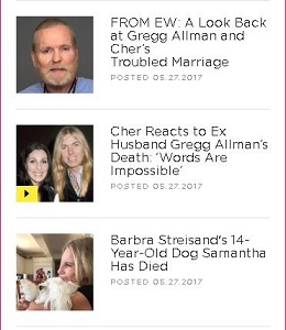 Top two stories refer to the death of Gregg Allman followed by a story about Barbra Streisand's dog dying