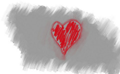 Red heart in a grey background