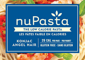 close-up of a package of nuPasta. Blue label shows it's Konjack Angel Hair pasta with 25 calories, high fibre, gluten free