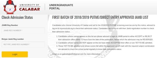 university of calabar admission