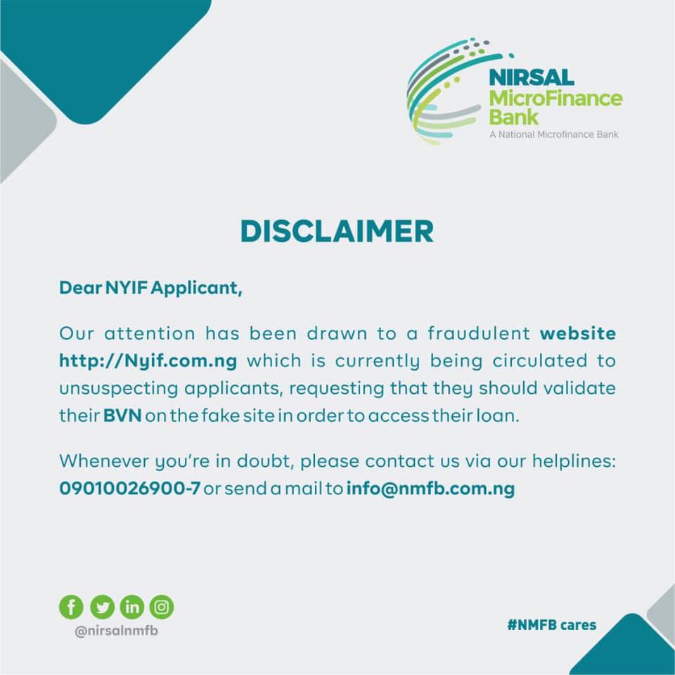 NYIF Disclaimer - for NYIF Applicant » Voice of Nigeria