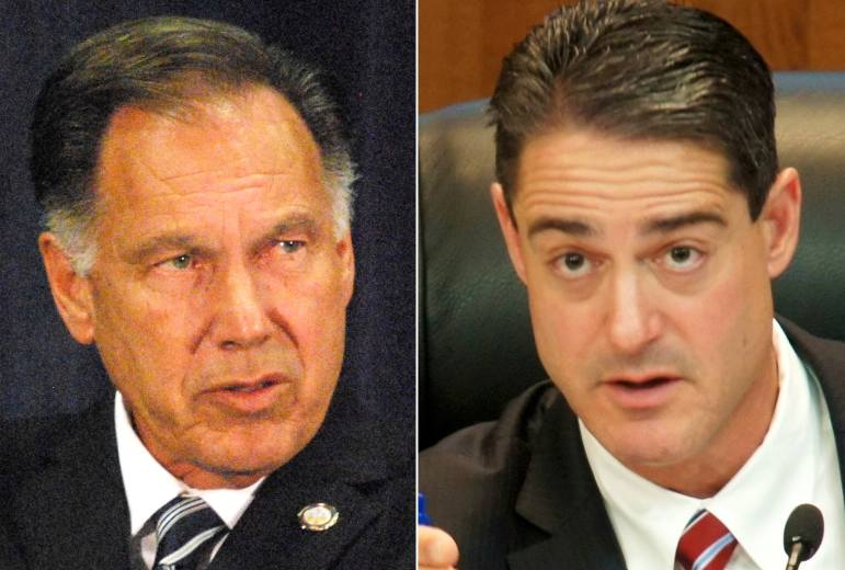 District Attorney Tony Rackauckas (left) and county supervisors' Chairman Todd Spitzer. (Photos by: Nick Gerda/Voice of OC)