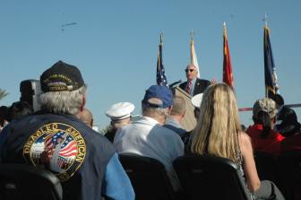 Local veteran looks while OC Fair Board member Nick Berardino talks about groundbreaking at Heroes' Hall