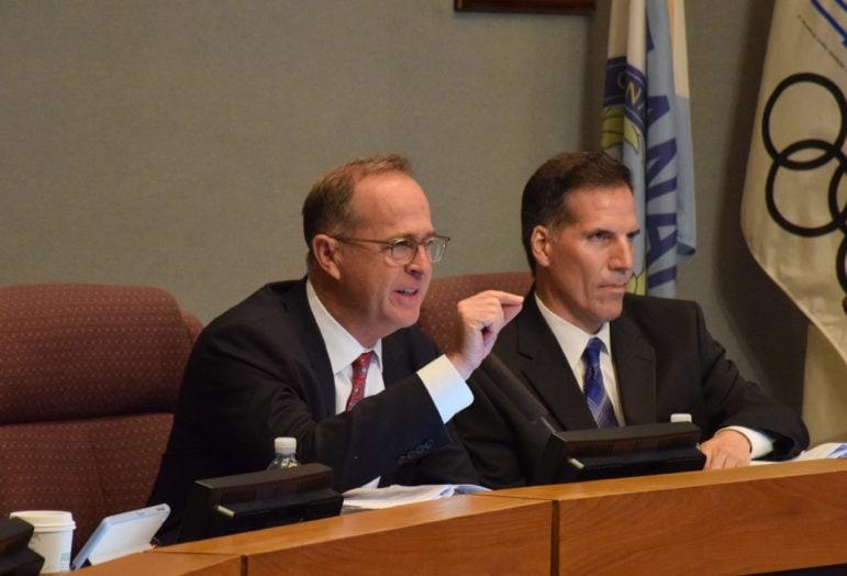 Anaheim Mayor Tom Tait (left); and Councilman James Vanderbilt before the hotel subsidy vote.