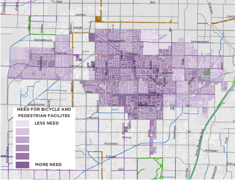 A map from the draft plan breaks down bike and pedestrian infrastructure needs by geography.