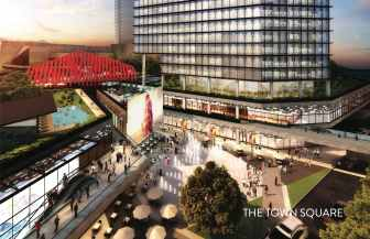 """A rendering of the """"Town Square"""" at the center of the proposed development by LT Global. Click to enlarge."""