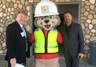 Garden Grove Councilman Steve Jones (left) with Chad McWhinney (right), CEO of the development company that owns the Great Wolf resort.