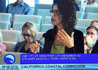 Debra Lewis speaks at Coastal Commission hearing