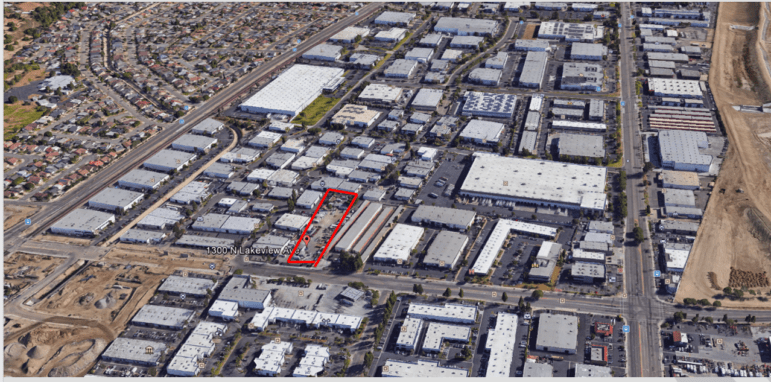A map of the area surrounding the site of the proposed Anaheim Sustainability Center, which is outlined in red.