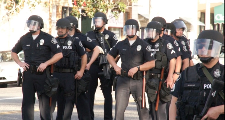 Kelly Thomas Protest - Police in Riot Gear