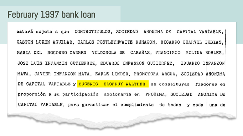 """The 13 names listed, translated from Spanish, """"declare themselves guarantors constituted in proportion to their stock participation in Próxima."""""""