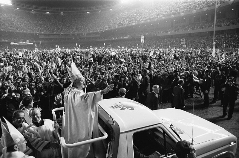 Pope John Paul II at Yankee Stadium in 1979.