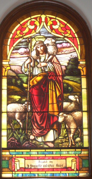 One of the original stained glass windows at Our Lady of the Blessed Sacrament.