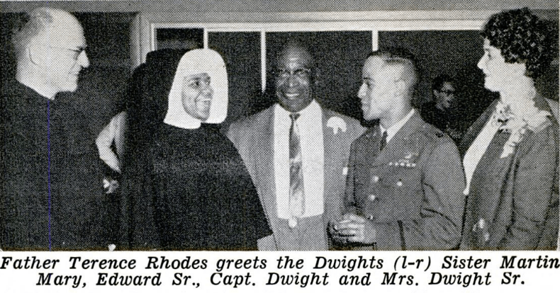 In 1963, Jet Magazine wrote an article about Captain Edward Dwight, a Catholic African-American astronaut trainee. Capt. Dwight returned to his alma mater, Bishop Ward High School in Kansas City, to give a commencement speech. Fr. Terence was on hand to meet him and his family.