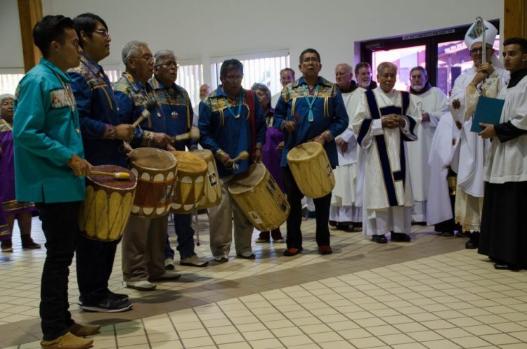 Native American tribes from around the Diocese celebrated the feast day of St. Kateri with music and dance at a reception following the Mass.