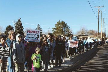 Pro-life marchers in Farmington, NM.