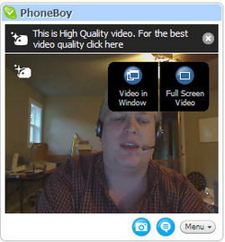 Display Options with Skype High Quality Video