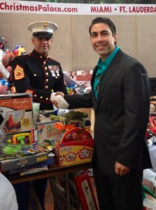 Jesus Salas with Marine Gunnery Sergeant Victore