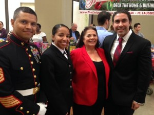 Jesus Salas with US Marines and Lilliana Vila President of Children Youth Life Foundation