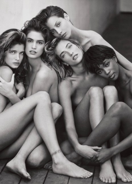 """Stephanie, Cindy, Christy, Tatjana, Naomi, Hollywood, 1989"" By Herb Ritts"