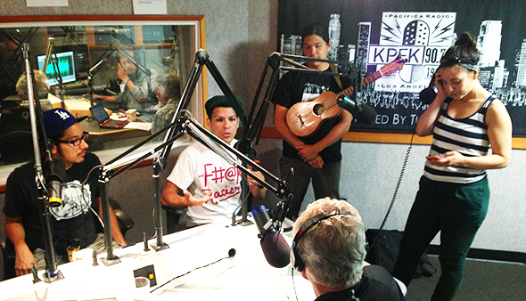 Las Cafeteras in the KPFK house!