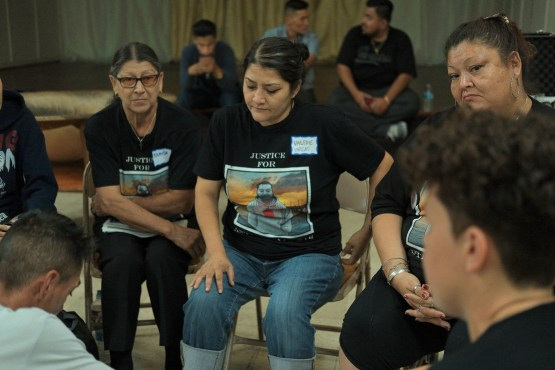 Valerie Vargas sits with family and community members at the North Long Beach Methodist Church on August 28, 2019 brainstorming ways to reform the Sheriff's Department. Her relative, Anthony Vargas, was killed by deputies in August 2018. Photo by Michael Lozano.
