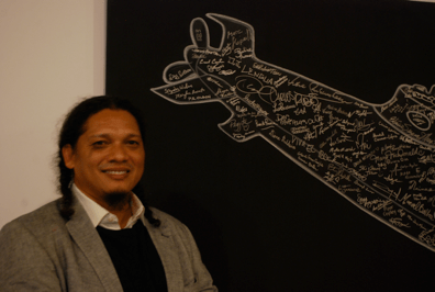 Esterio Segura on opening night of his exhibit at MOLAA on Nov. 22.