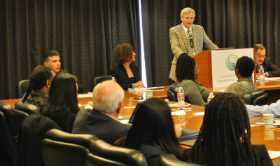 """David Rattray made some opening remarks at the panel on """"The Growth of Incarceration Rates in the United States,"""" an NRC report at the Los Angeles Chamber of Commerce Thursday."""