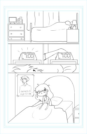 A completed inked page from page one of Jen's story.