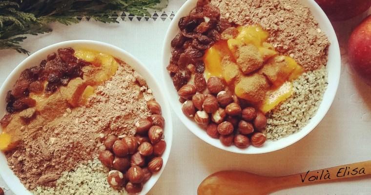 Porridge crudivegano de manzana y plátano