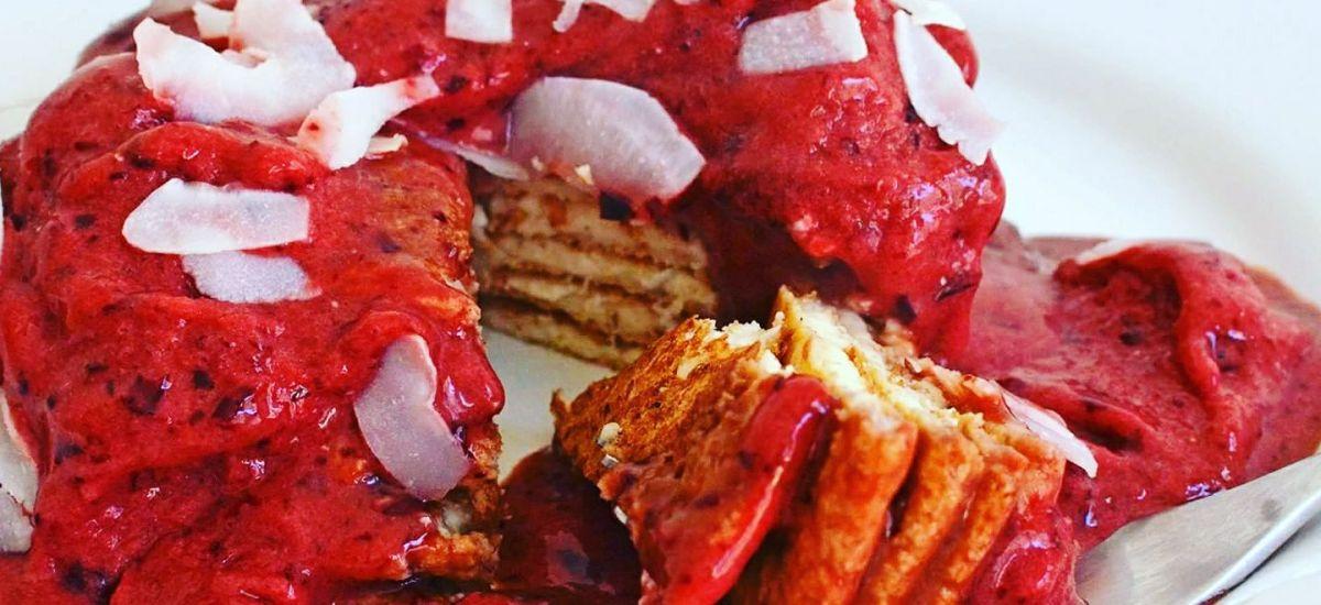 Pancakes horneados con sorbete de cerezas