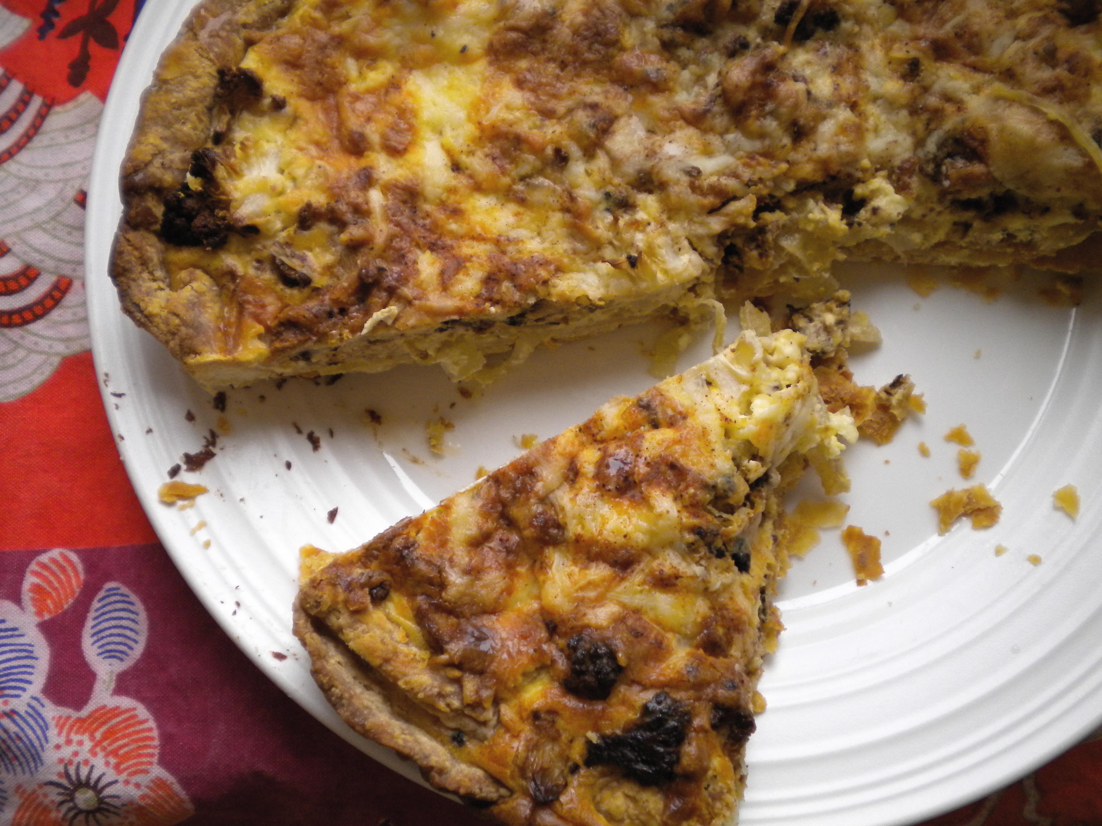 roasted cauliflower and caramelized onion tart