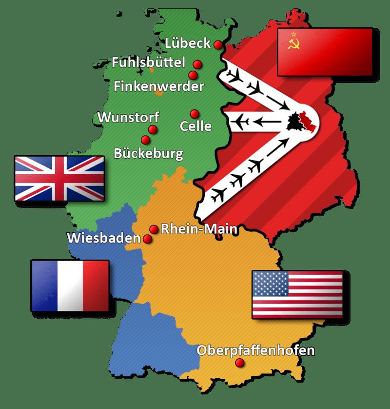 Окупационните области на Германия след Втората световна война.