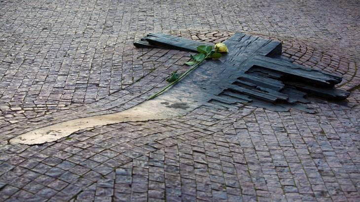 Паметникът на Ян Палах в Прага.