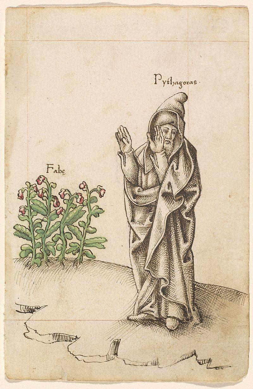 Питагор и бобените растения, френска илюстрация 1512/1514 г.