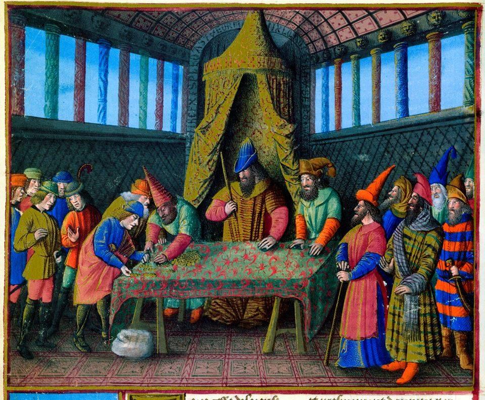 Баязид приема откупите на християнските заложници през 1397 г., f. 267v. Sébastien Mamerot, Les Passages d'Outremer, Fr. 5594, BnF
