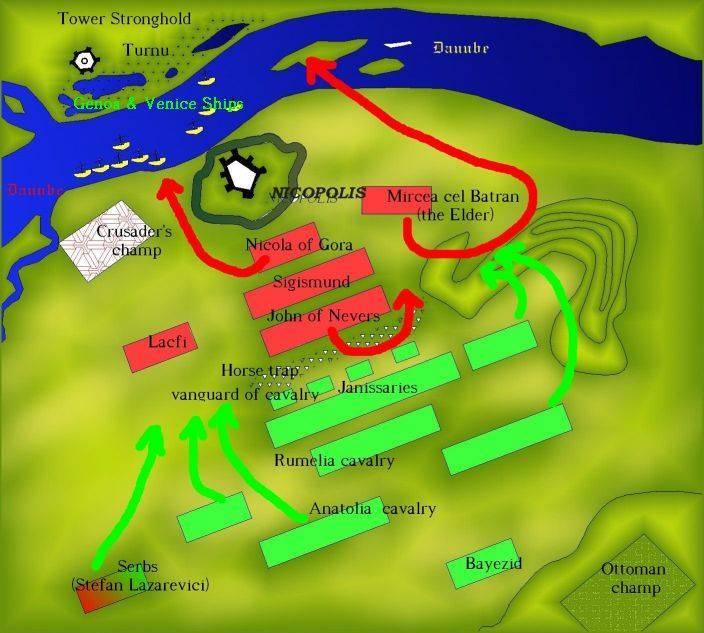 Карта на разпределението на силите при битката при Никопол.