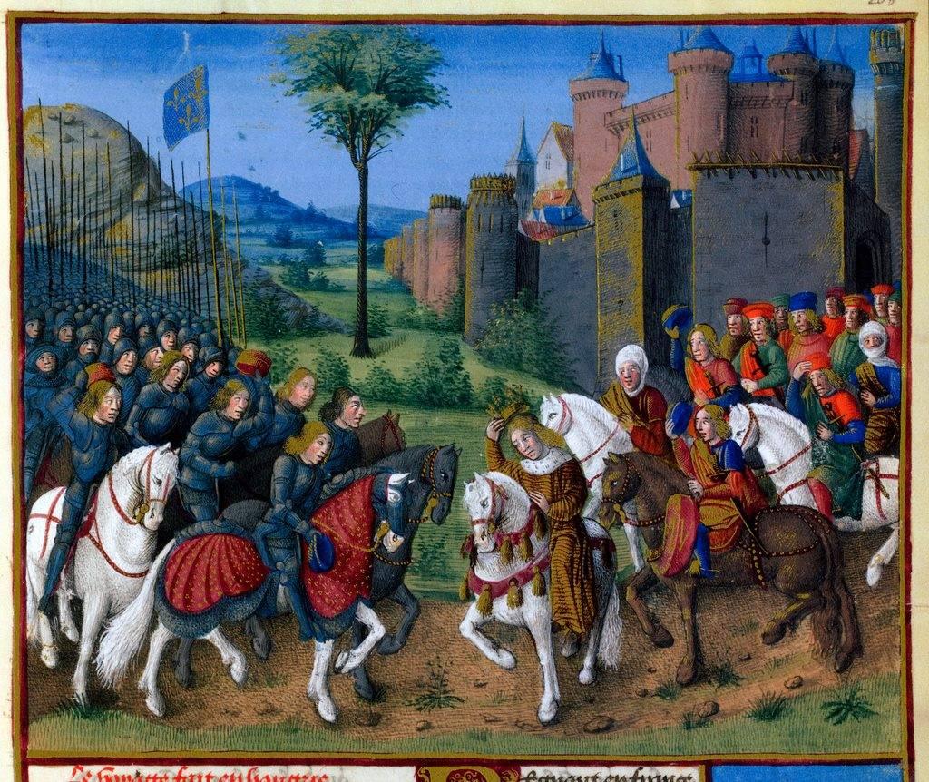 Сигизмунд от Люксембург, крал на Унгария, посреща армията на Жан Безстрашния преди Буда.