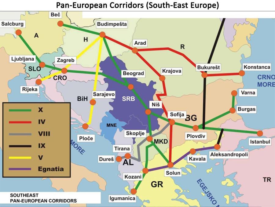 Карта на паневропейските коридори в югоизточна Европа.